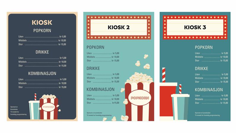 Plakater for servering på filmkveld
