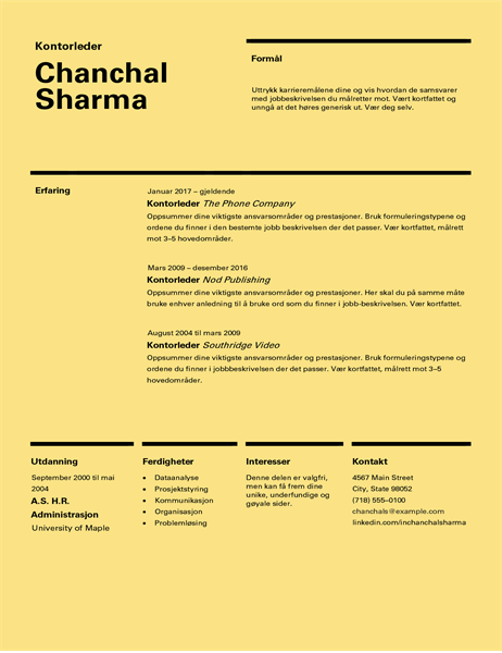 CV i sveitsisk utforming