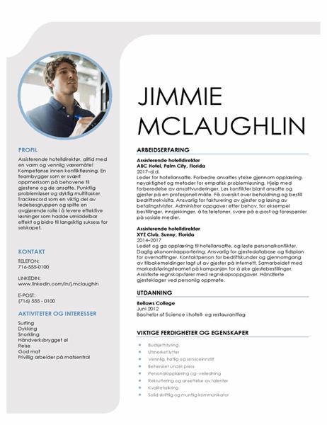 CV for gjestfrihetsadministrasjon