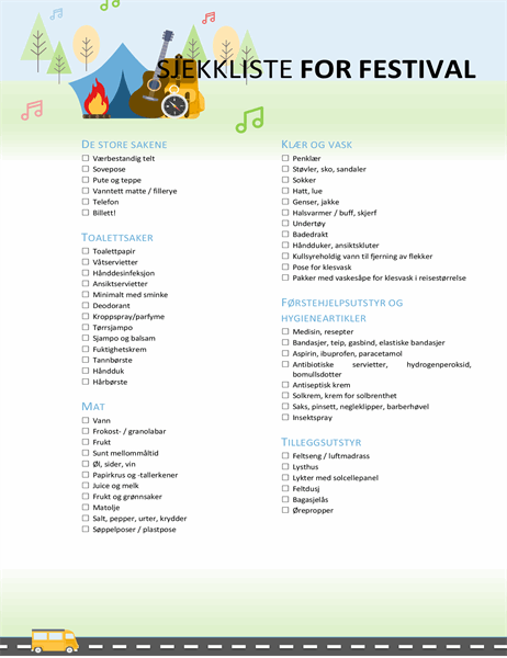 Sjekkliste for festival
