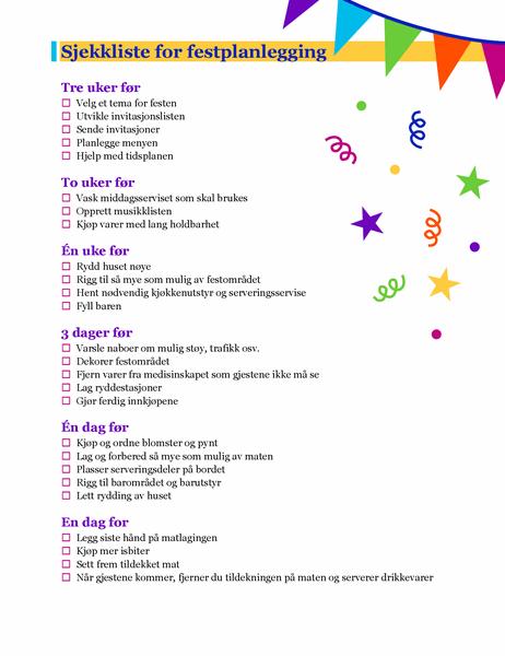 Sjekkliste for festplanlegging