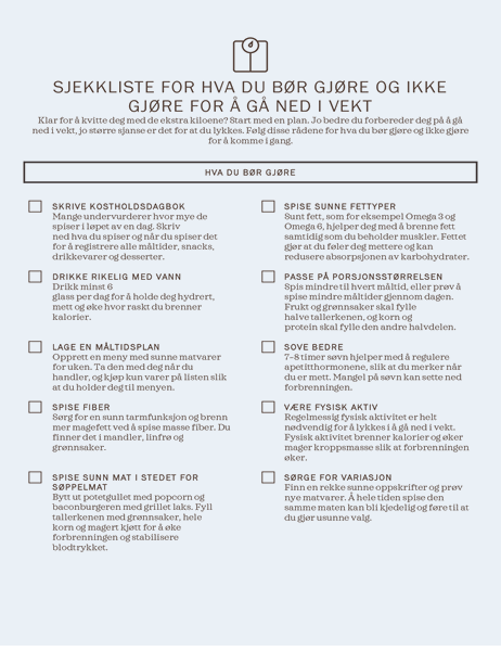 Sjekkliste for hva du bør gjøre og ikke gjøre for å gå ned i vekt