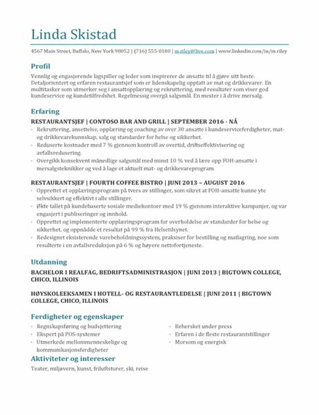 CV for Restaurantsjef