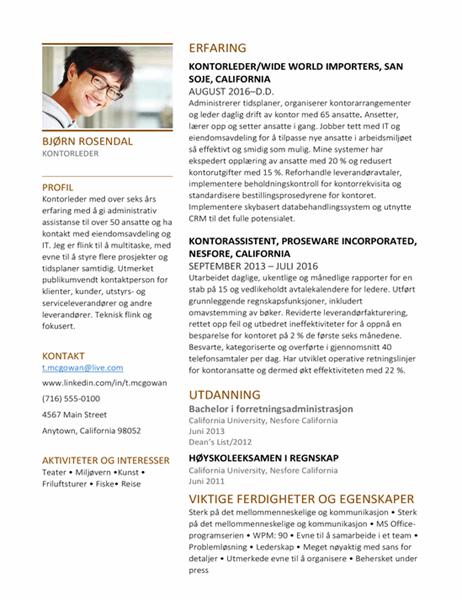 CV for kontorleder