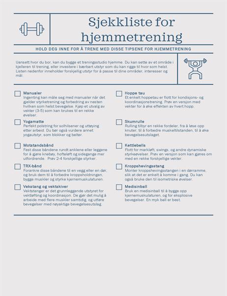 Sjekkliste for hjemmetreningsstudio