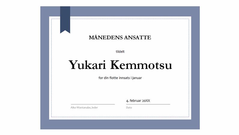 Diplom for månedens ansatte