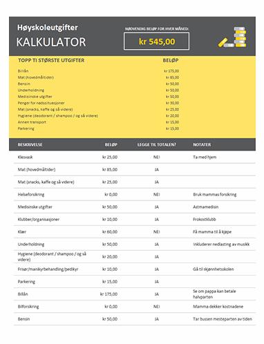 Kalkulator for beregning av høyskoleutgifter