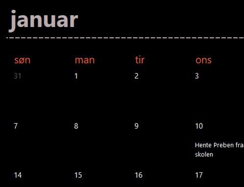 Faner i kalenderen Eviggrønn (svart)