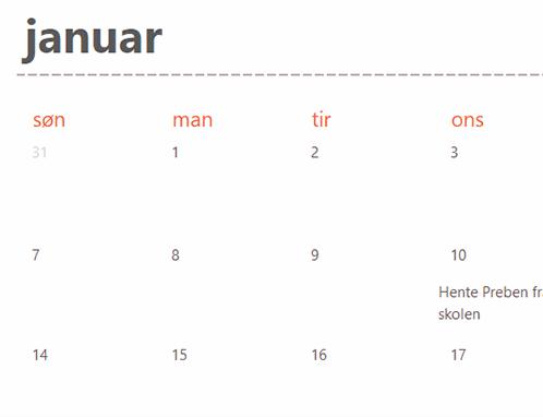 Faner i kalenderen Eviggrønn (hvit)