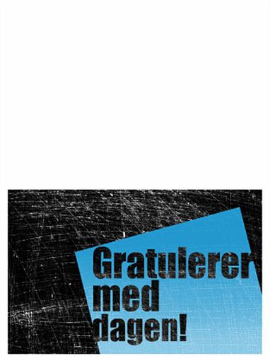 Bursdagskort, skrapt bakgrunn (sort, blå, halv bretting)