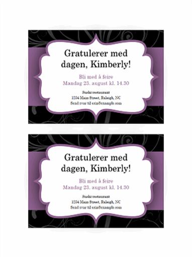 Festinvitasjon (design med lilla bånd)