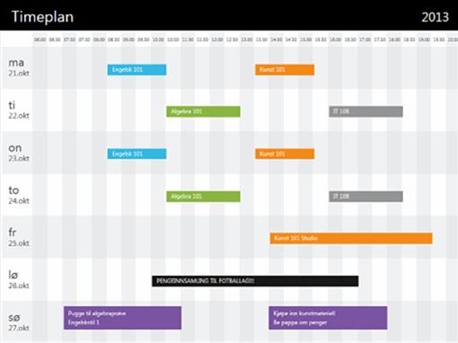 Timeplan (etter tid)
