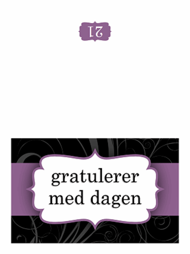 Bursdagskort (utforming med lilla bånd, halvbretting)