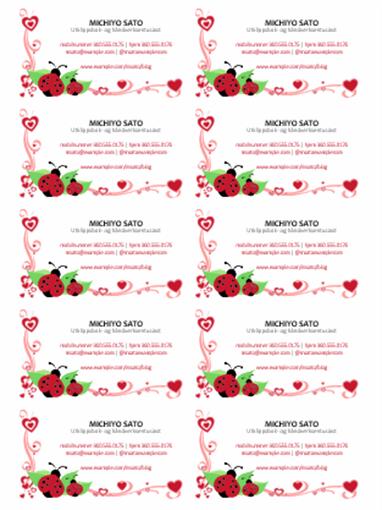 Visittkort (marihøner og hjerter, midtstilt 10 per side)