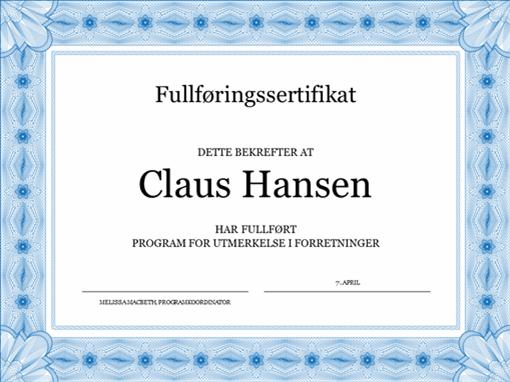 Diplom for fullførelse (blått)