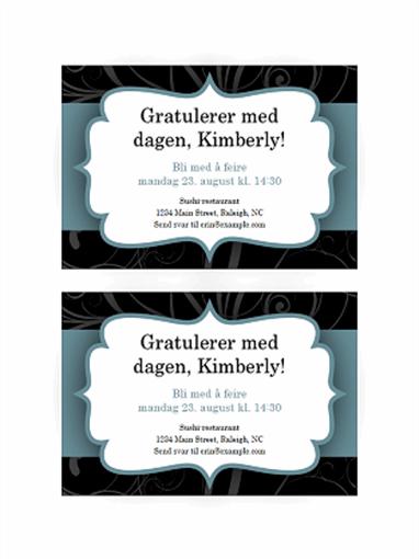 Festinvitasjoner (utforming med blått bånd, to per side)