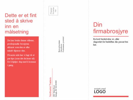 Firmabrosjyre eller medisinsk brosjyre med tredobbel bretting (rød, hvit utforming)