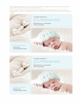 Fødselskunngjøring for guttebarn