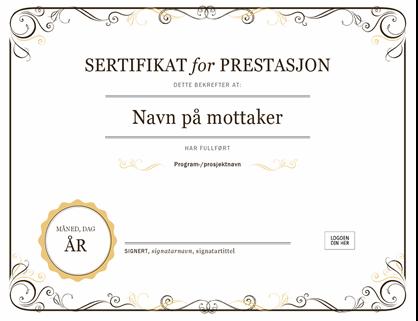 Sertifikat for prestasjon