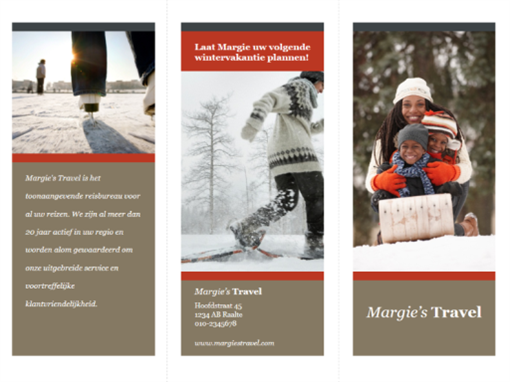 In drieën gevouwen reisbrochure (rood en grijs ontwerp)