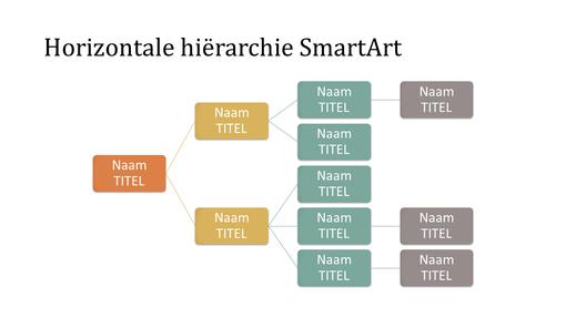 Dia met organigram met horizontale hiërarchie (verschillende kleuren op een witte achtergrond, breedbeeld)