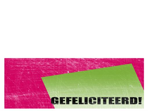 Verjaardagskaart, achtergrond met krassen  (roze, groen, dubbelgevouwen)
