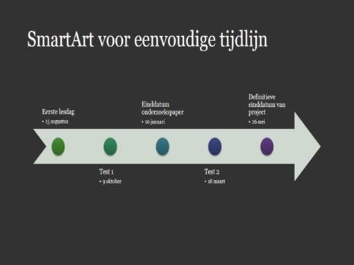 Dia met SmartArt-tijdlijnschema (wit op donkergrijs, breedbeeld)