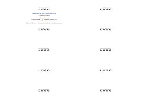Visitekaartjes, horizontale indeling met logo (10 per pagina)