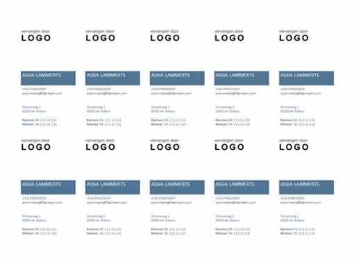 Visitekaartjes, verticale indeling met logo (10 per pagina)