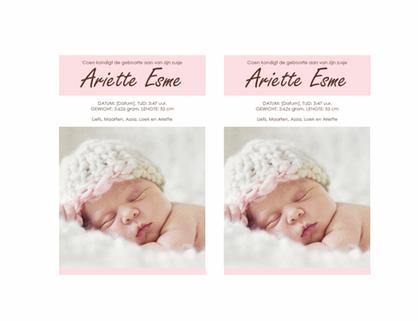 Aankondiging van geboorte van meisje