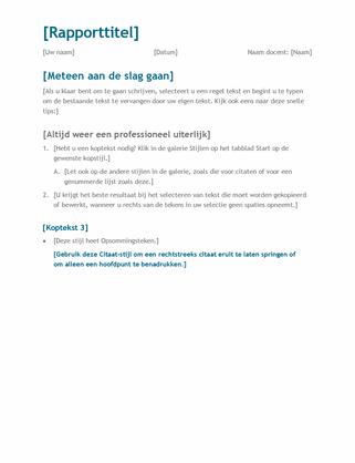 Eenvoudig studentenverslag