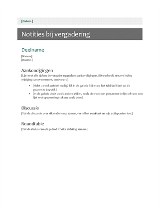 Notities bij vergadering
