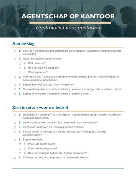 Opstart checklist voor een klein bedrijf
