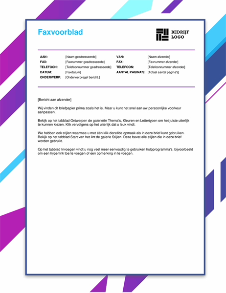 Faxvoorblad met paarse afbeelding