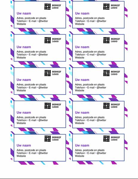 Visitekaartjes met paarse afbeelding