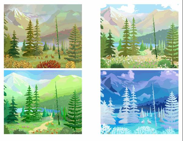 Briefkaarten met wildernis in verschillende seizoenen