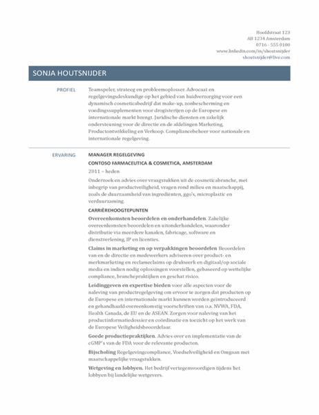CV voor manager in de regelgeving