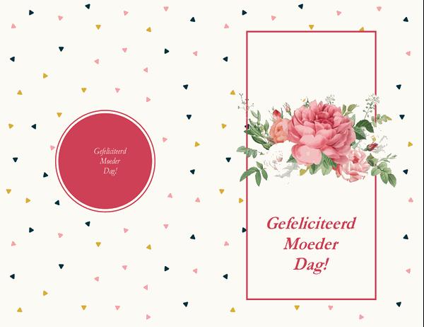 Moederdagkaart met retro rozenmotief