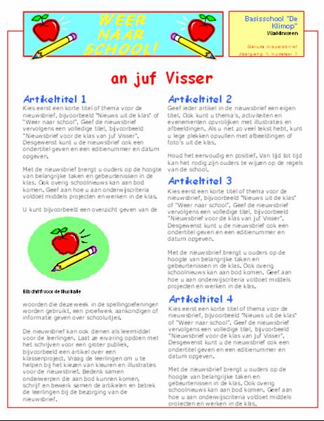 Nieuwsbrief voor de klas (2 kolommen, 2 pagina's)