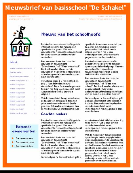 Schoolnieuwsbrief (3 kolommen, 4 pagina's)