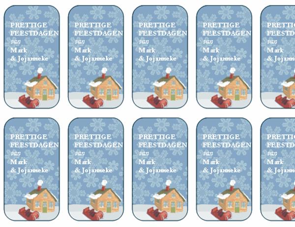Labels voor kerstcadeaus (woning in winterse sfeer, werkt met Avery 5871, 8871, 8873, 8876 en 8879)