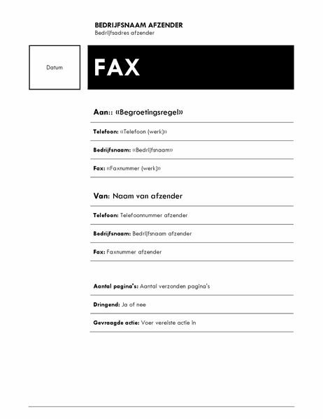 Afdruk fax samenvoegen (thema Mediaan)