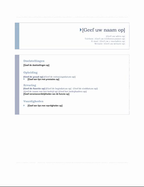 Curriculum vitae (thema Origin)