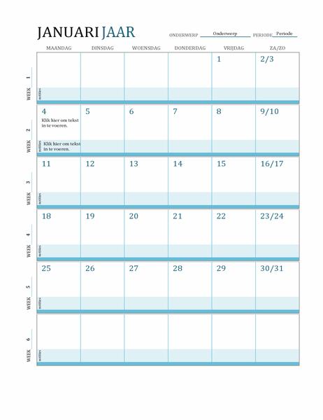 Kalender voor lesplan