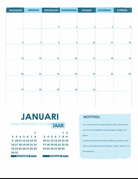 Academische kalender (één maand, elk jaar, aanvang maandag)