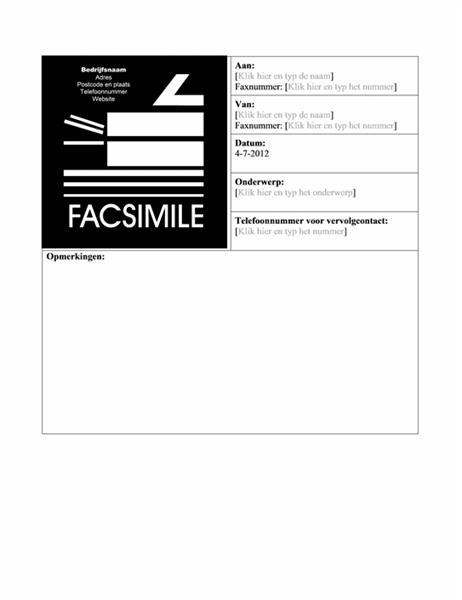 Voorblad zakelijke fax