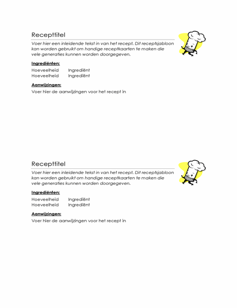 Receptkaartjes (2 per pagina)