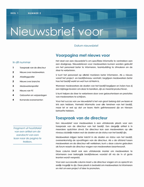 Nieuwsbrief voor medewerkers