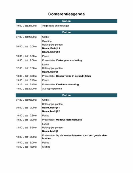 Agenda voor conferentie