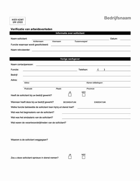 Telefonische verificatie van arbeidsverleden